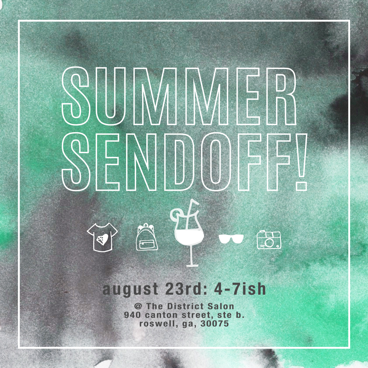 Vacations are ending, but that doesn't mean that celebrations have to! On  August 23rd , come to our  Summer Send-off  for free treats, free drinks, free pictures, and free beautiful people to love on!   Also, there will be a   FREE GIVEAWAY   of one of our brand new backpacks filled with goodies from local Atlantans that want to help you get through your journey into fall!      So get your beautiful behind over to  The District  and celebrate new beginnings, new SWL delights, and new friends!