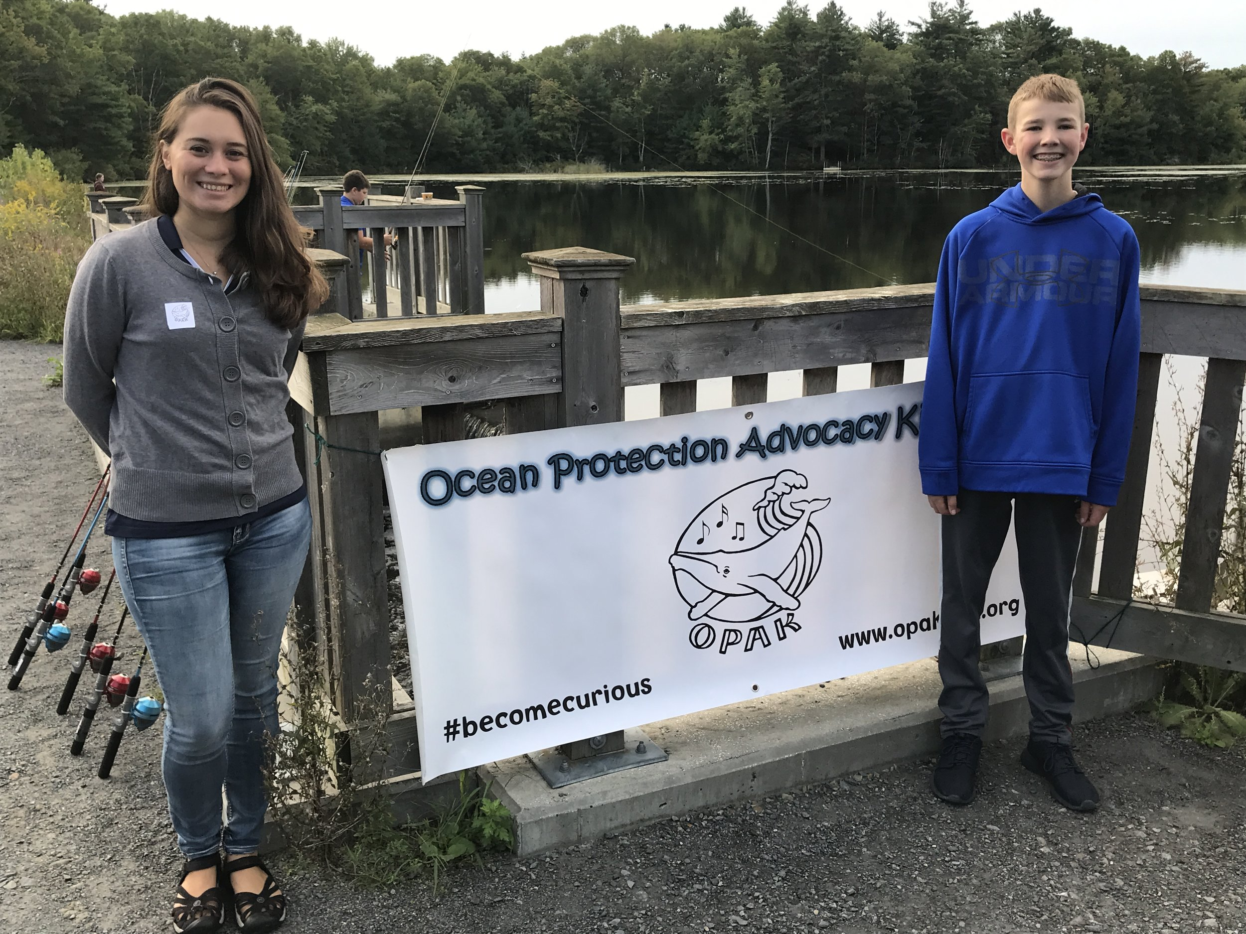 Brendan and Melanie (OPAK Co-Founder) get ready for the Fishing Derby!