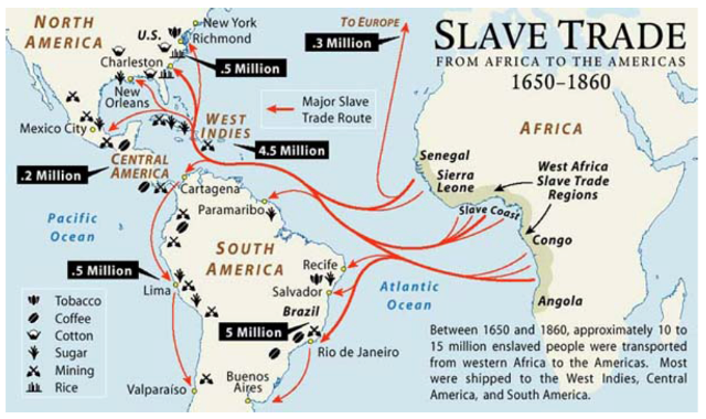 Trans-Atlantic Slave trade routes where many African natives lost their lives while in transport to the Americas.