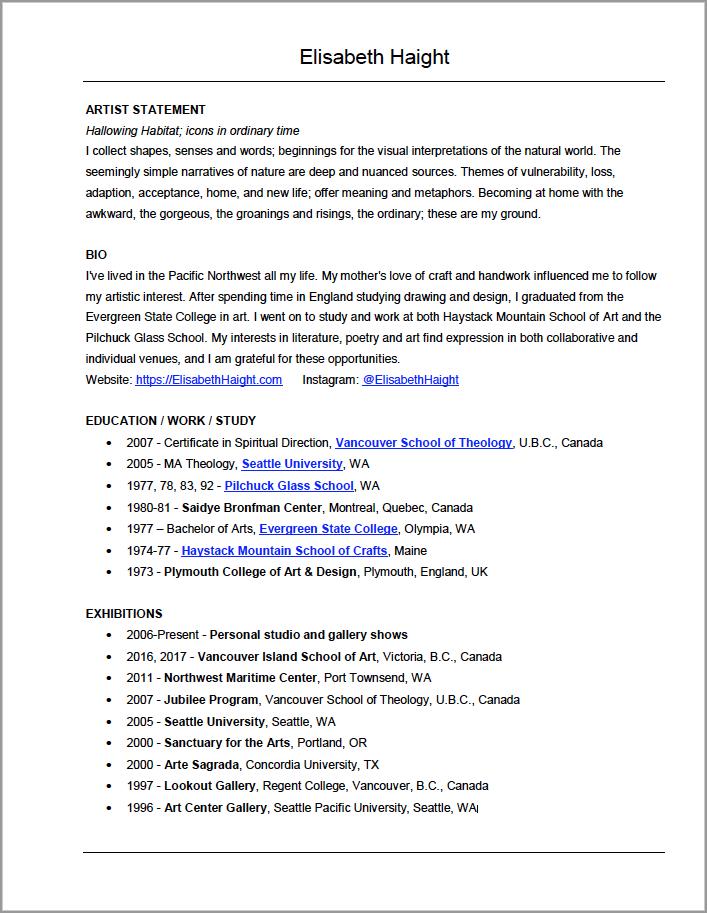 View & Download Elisabeth Haight's CV