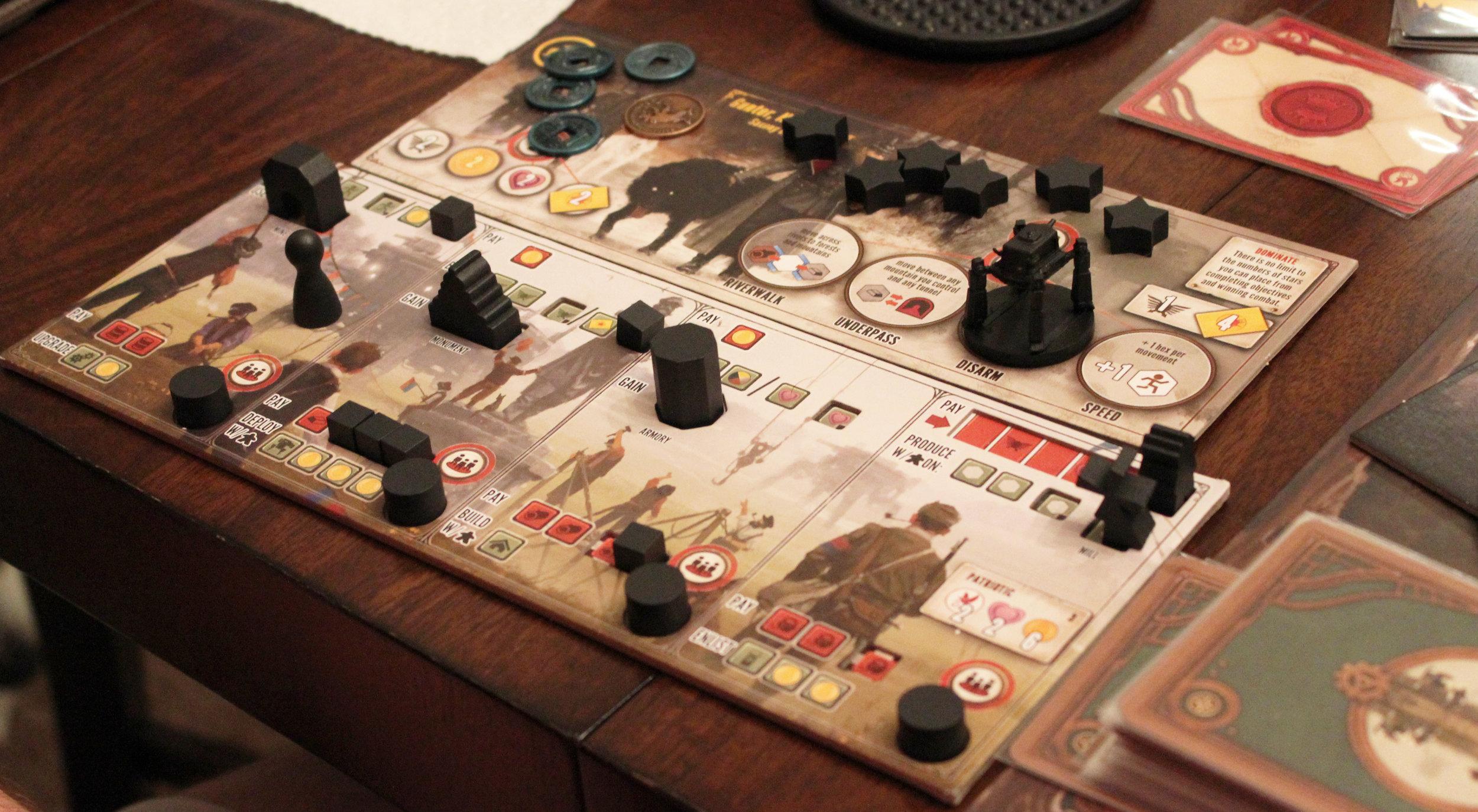 Faction mat and player mat.