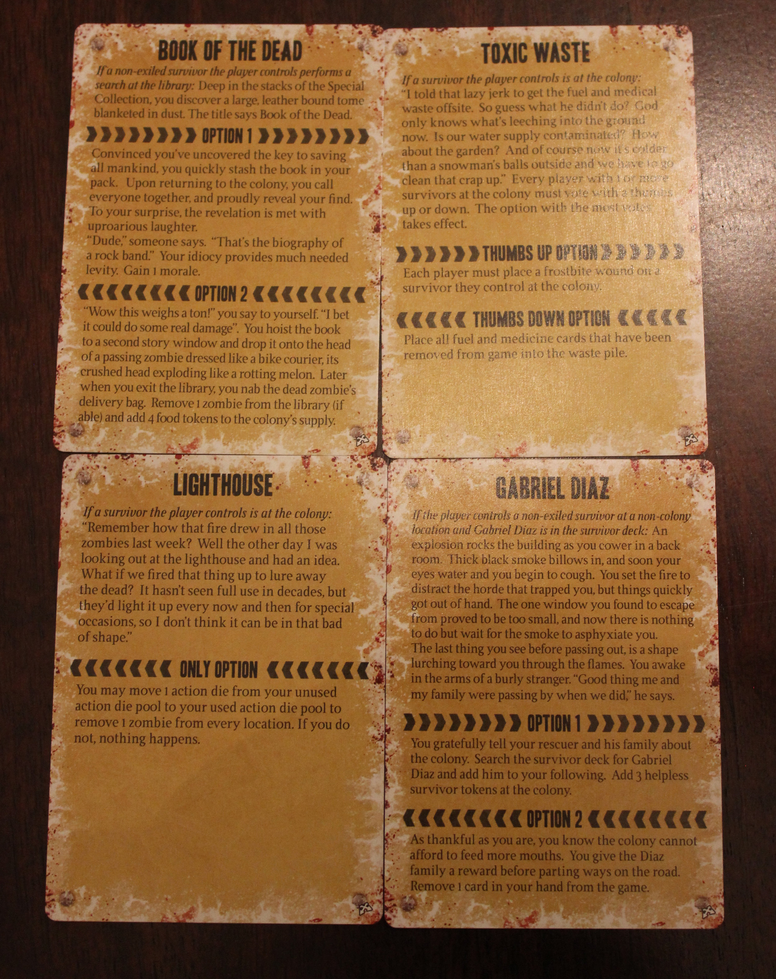 Sample Crossroads cards.