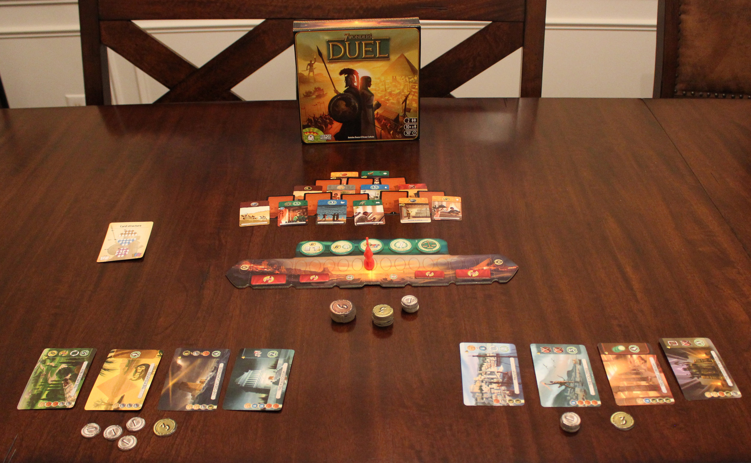 7 Wonders Duel all set up for the first round.