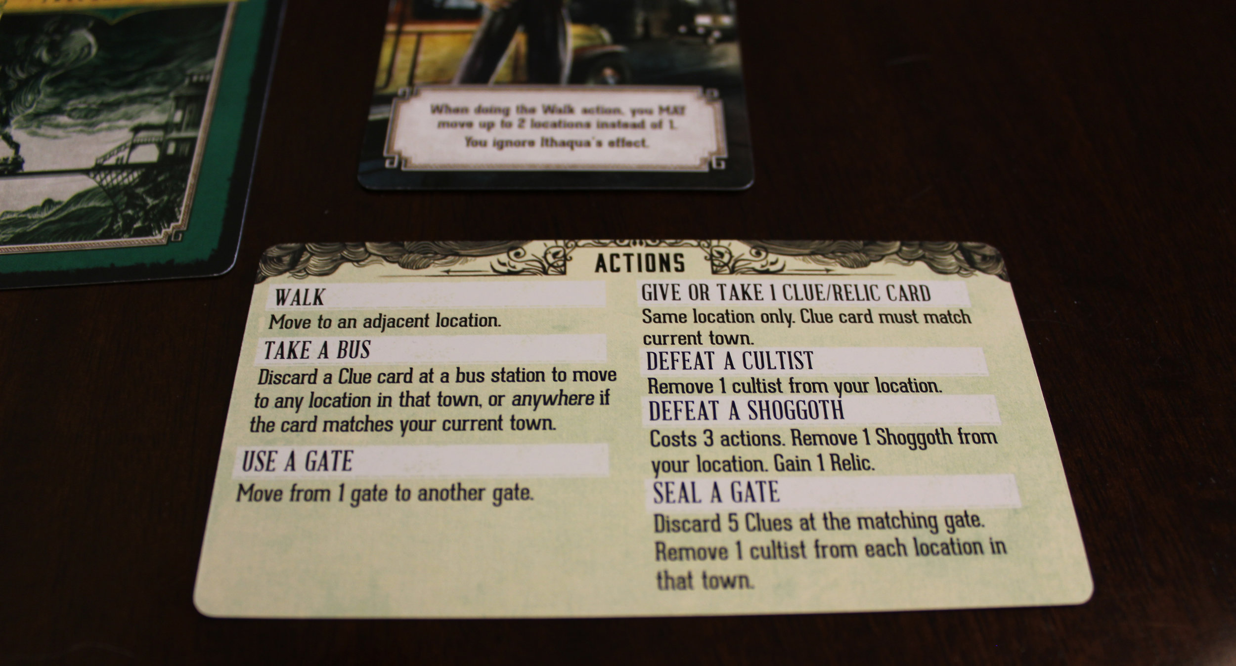 These handy player aids let remind you what you can do on your turn.