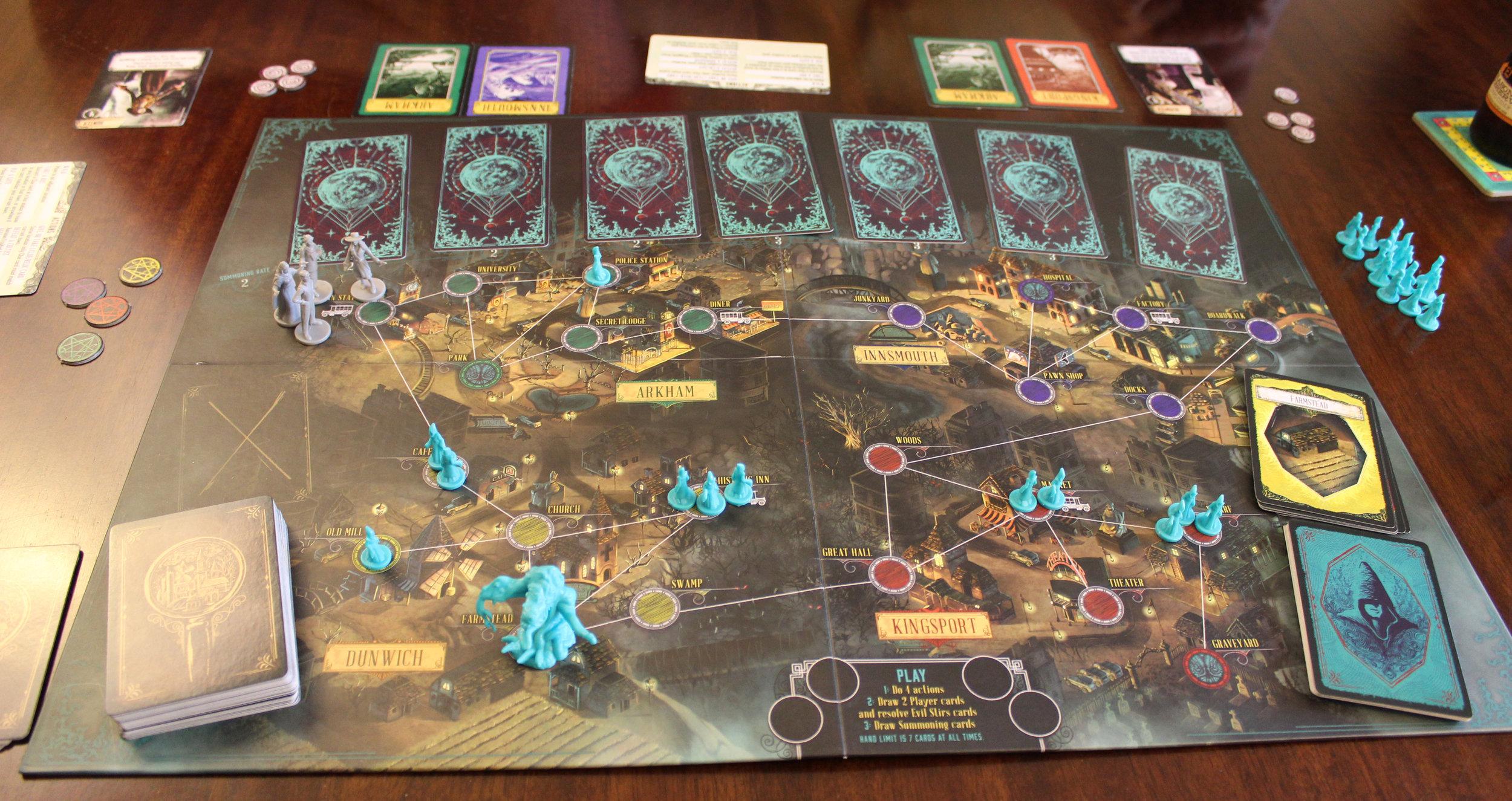 Game setup for four players.