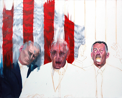 """Study after F.Bacon, Pope Francis,Oil on canvas, 72""""x 58"""", 2017"""