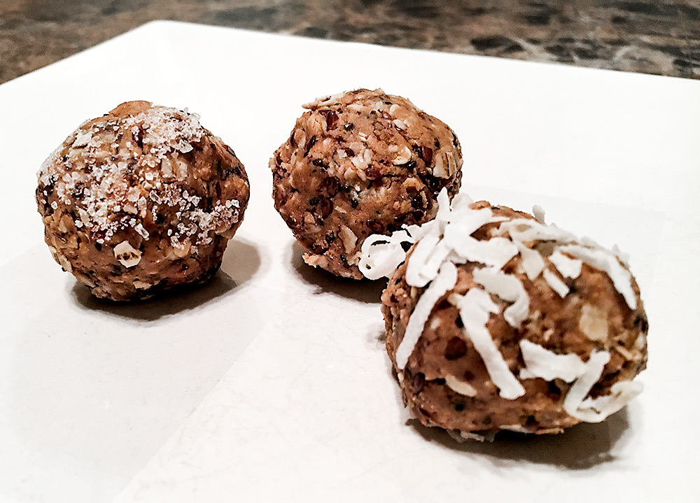 Sweet & Salty, Original, and Coconut topped protein bites. Bet you can't eat just one!