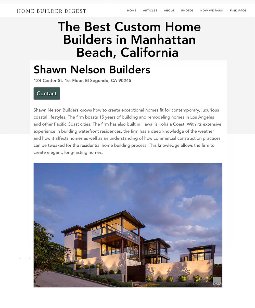 Press Shawn Nelson Builders Los Angeles High End Custom Homes