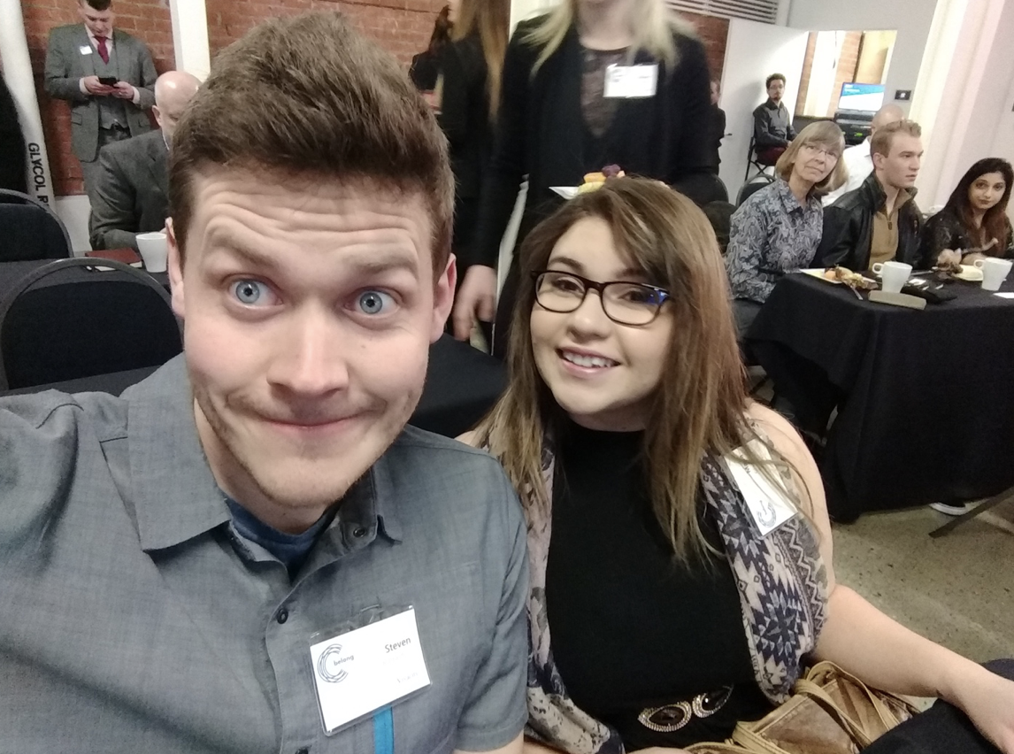 Steven and I are ready to hear the first talk of the morning! Photo credit: Steven Rutherford