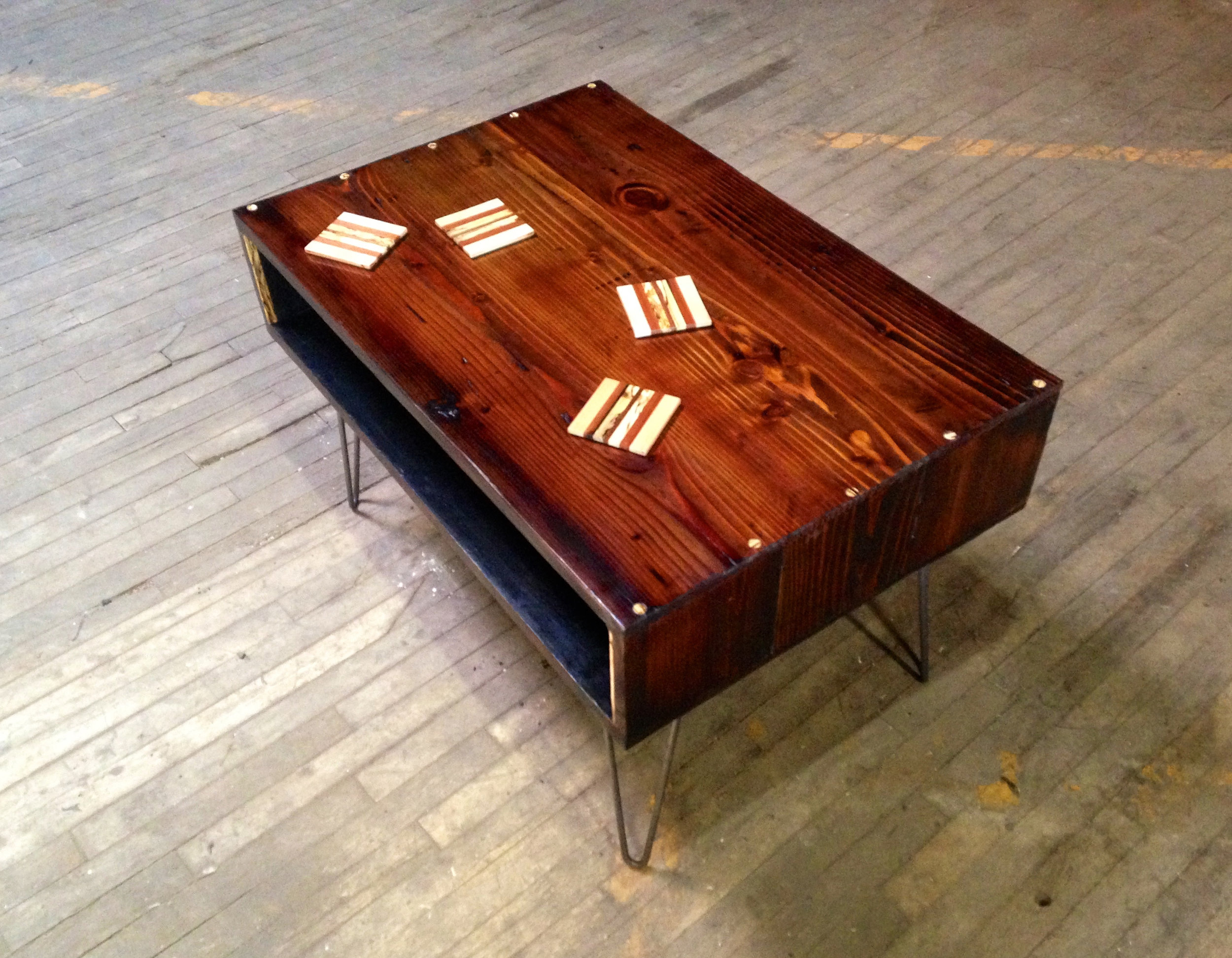 """Wrimer"" Custom Coffee Table -  2 x 3' x 21"" - Reclaimed Hemlock, Spalted Sycamore, Steel"