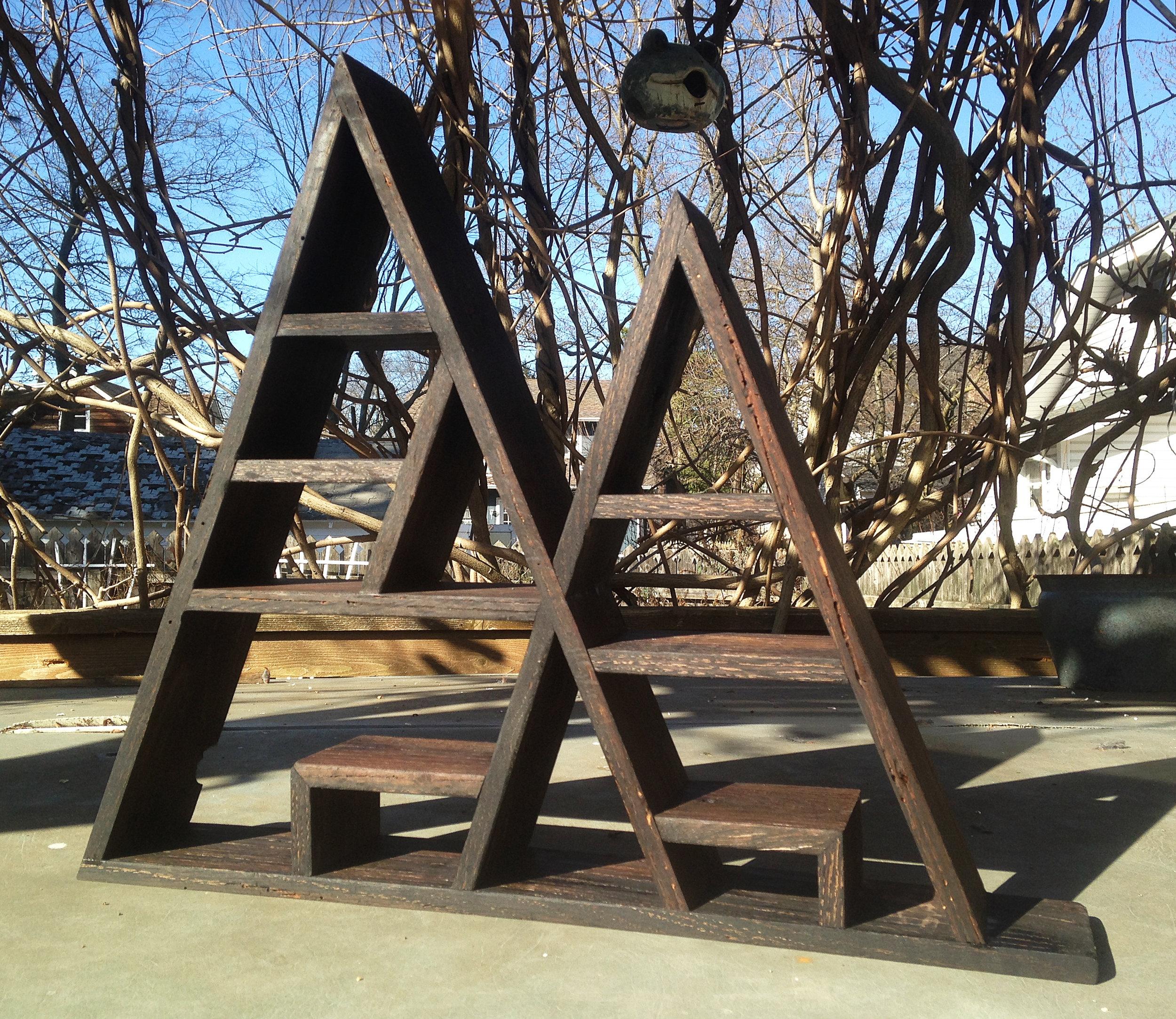 """Custom Geometric Shelf  - Appx. 22 x 20 x 3"""" - Ebonized Reclaimed Red Oak"""