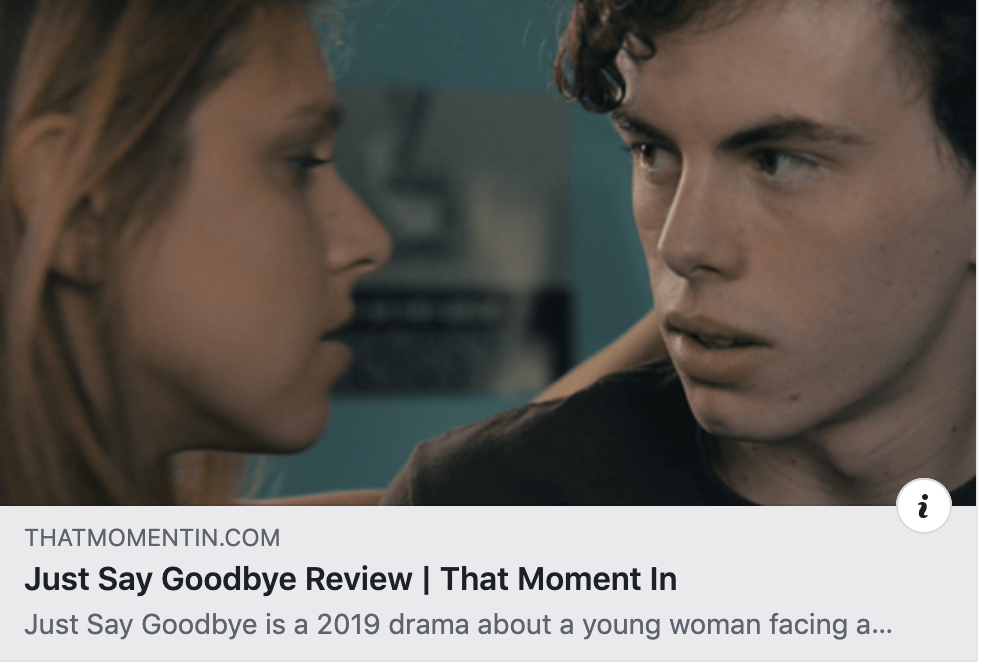 "New Just Say Goodbye Review from ""That Moment In"" - David Duprey writes ""Eichenberger is the best thing going in the film, the young actress a natural presence that helps greatly in lending the film its authenticity…Eichenberger sells it completely."" Read more here."