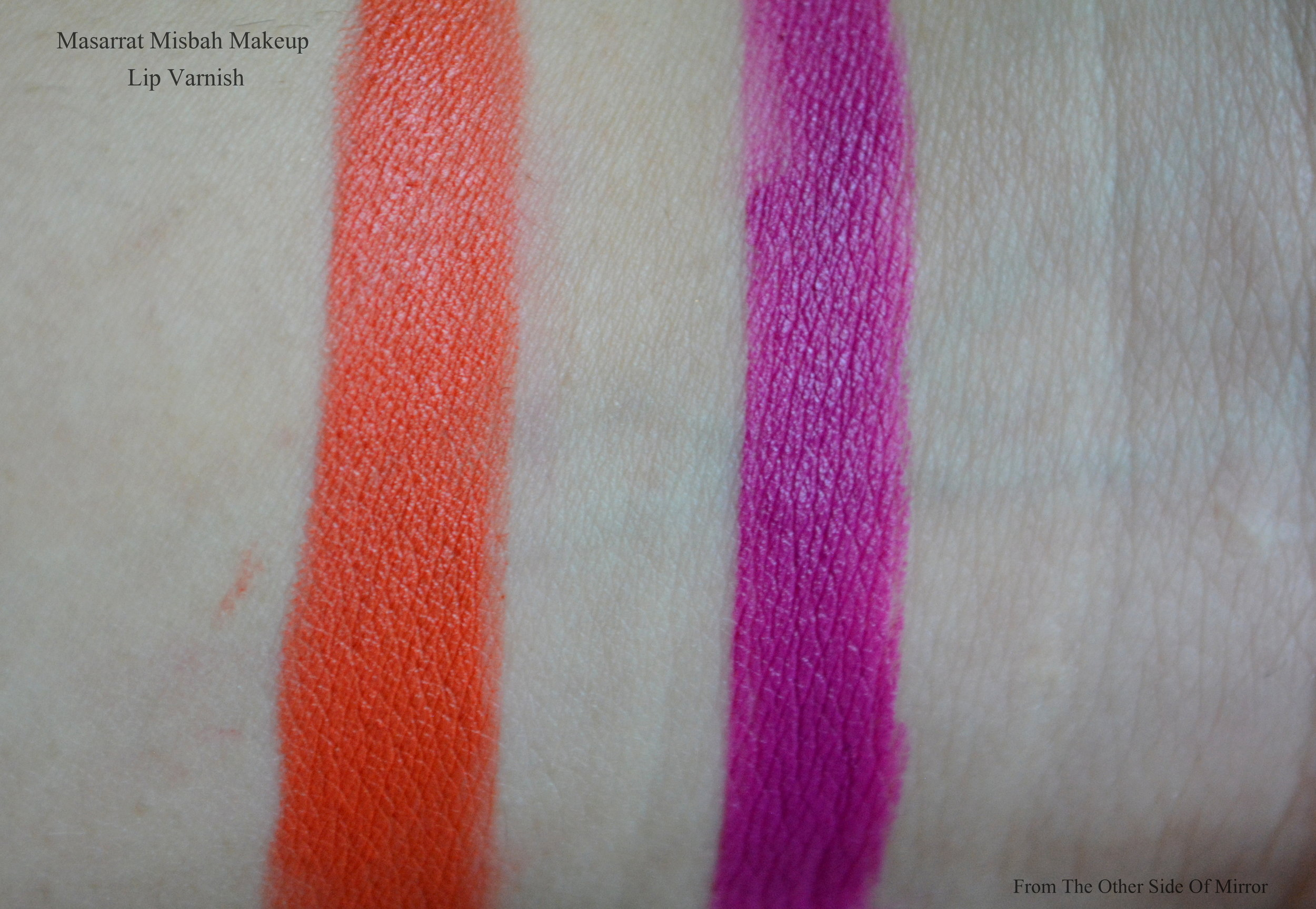 MM Makeup Lip Varnish- L: MM Orange R: Viola