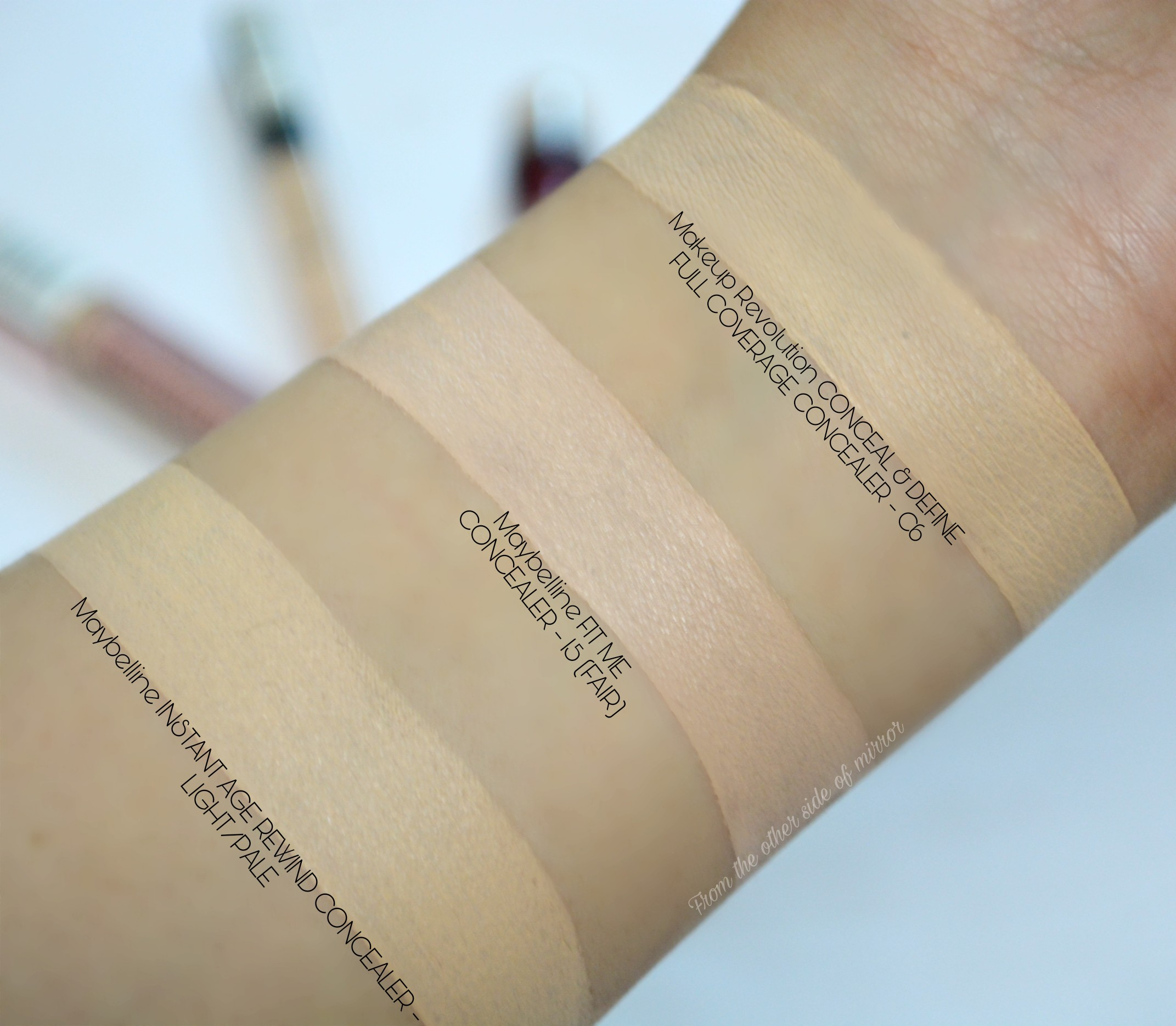 Makeup Revolution Conceal and Define Concealer- Comparison Swatches