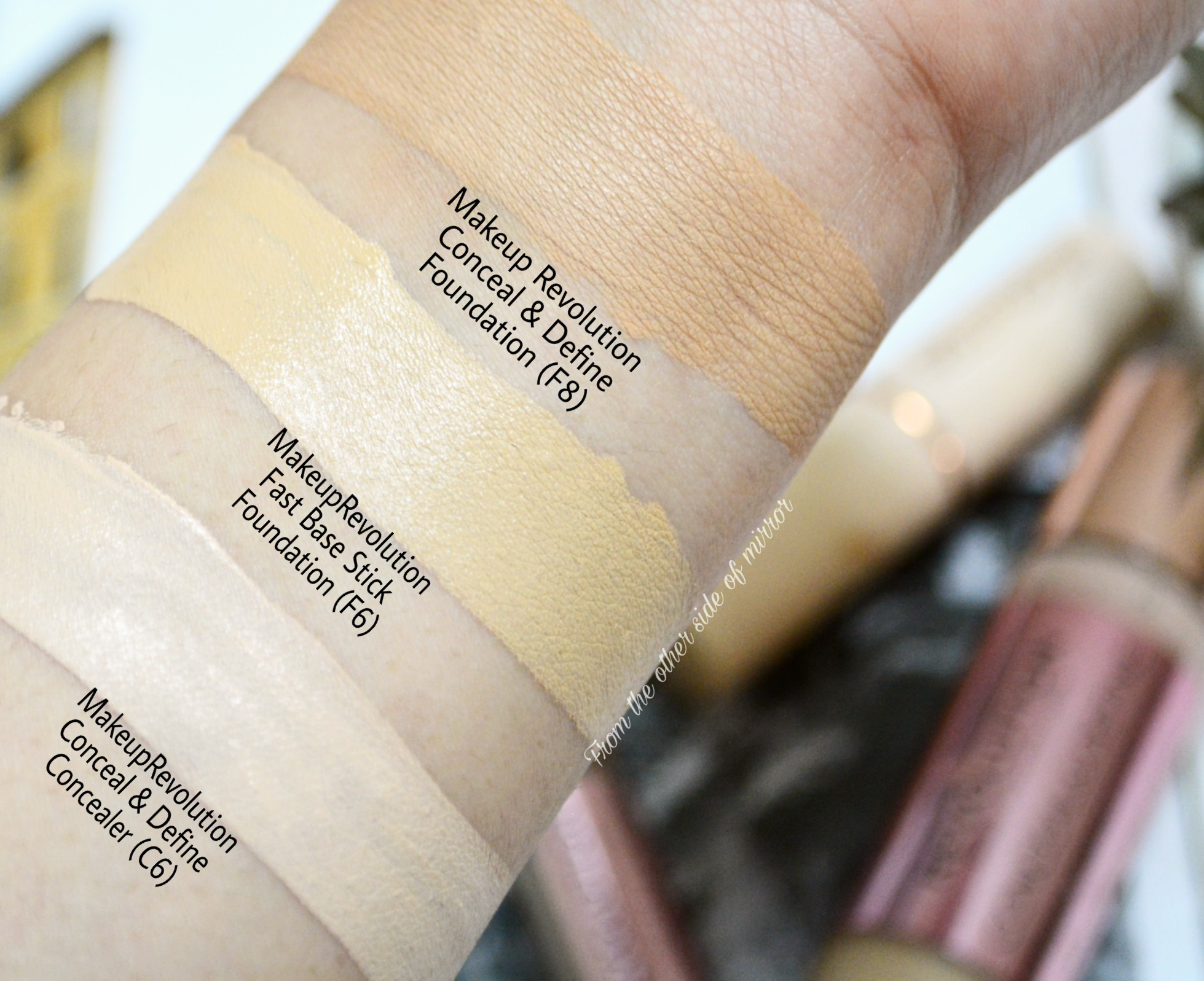 MakeupRevolution Conceal & Define Foundation (F8) compared to other MUR shades