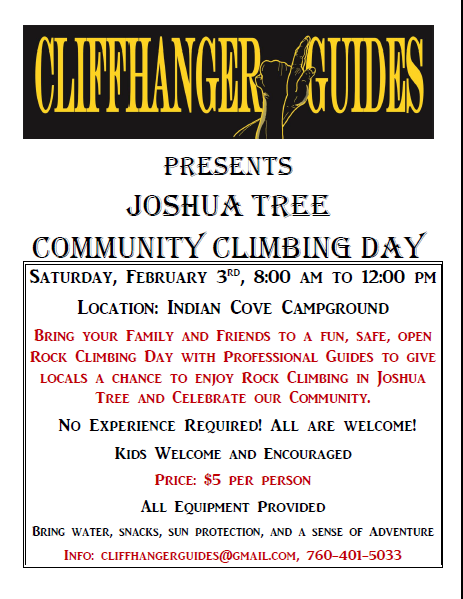 Community Climbing day hosted by Cliffhanger Guides, Joshua Tree. Shared by Rent29.com