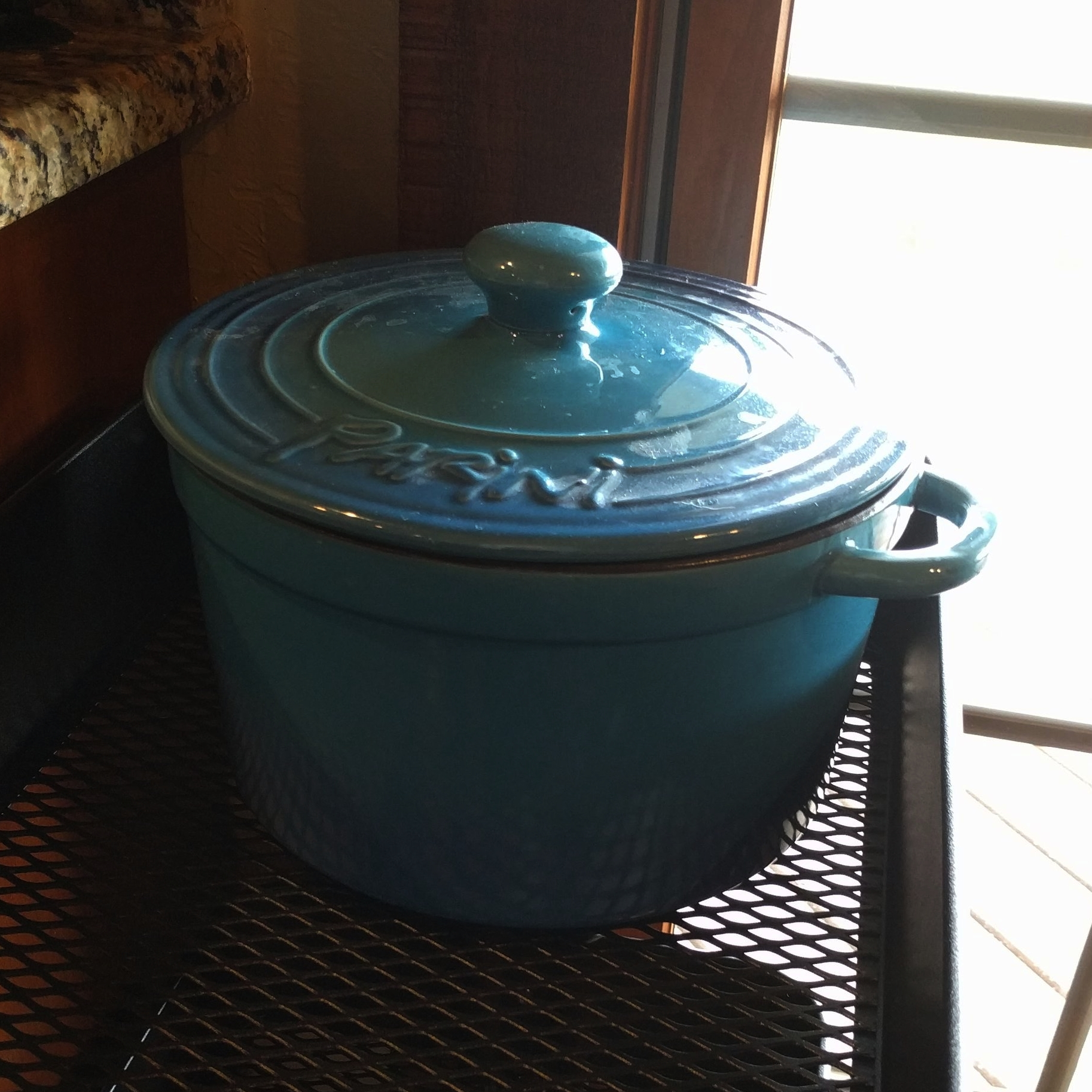 My aunt won my pot for me at a bingo tournament! Free wheat seed sprouter/dutch oven.