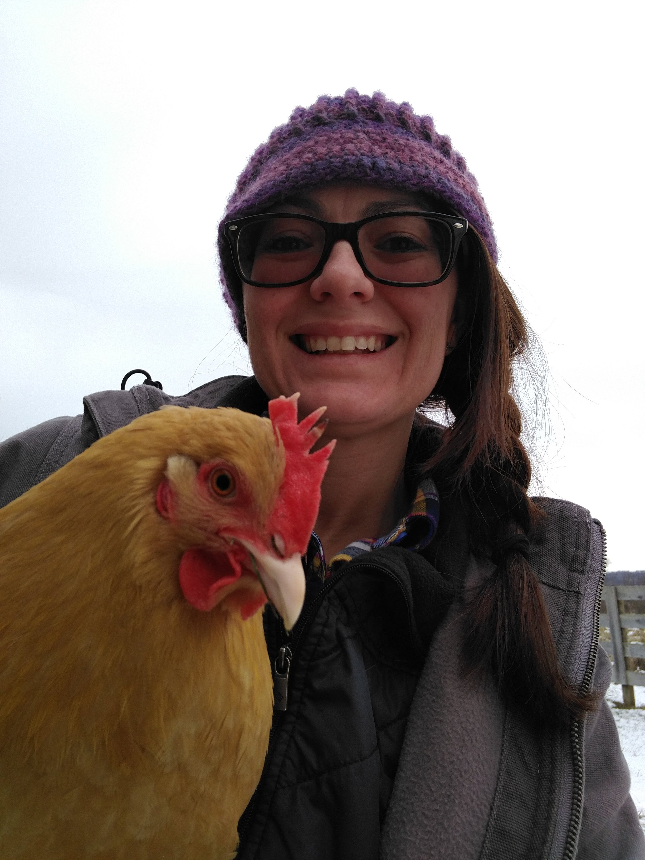 The selfie I discovered the frostbite in. How did I miss that during regular chicken care duties?!