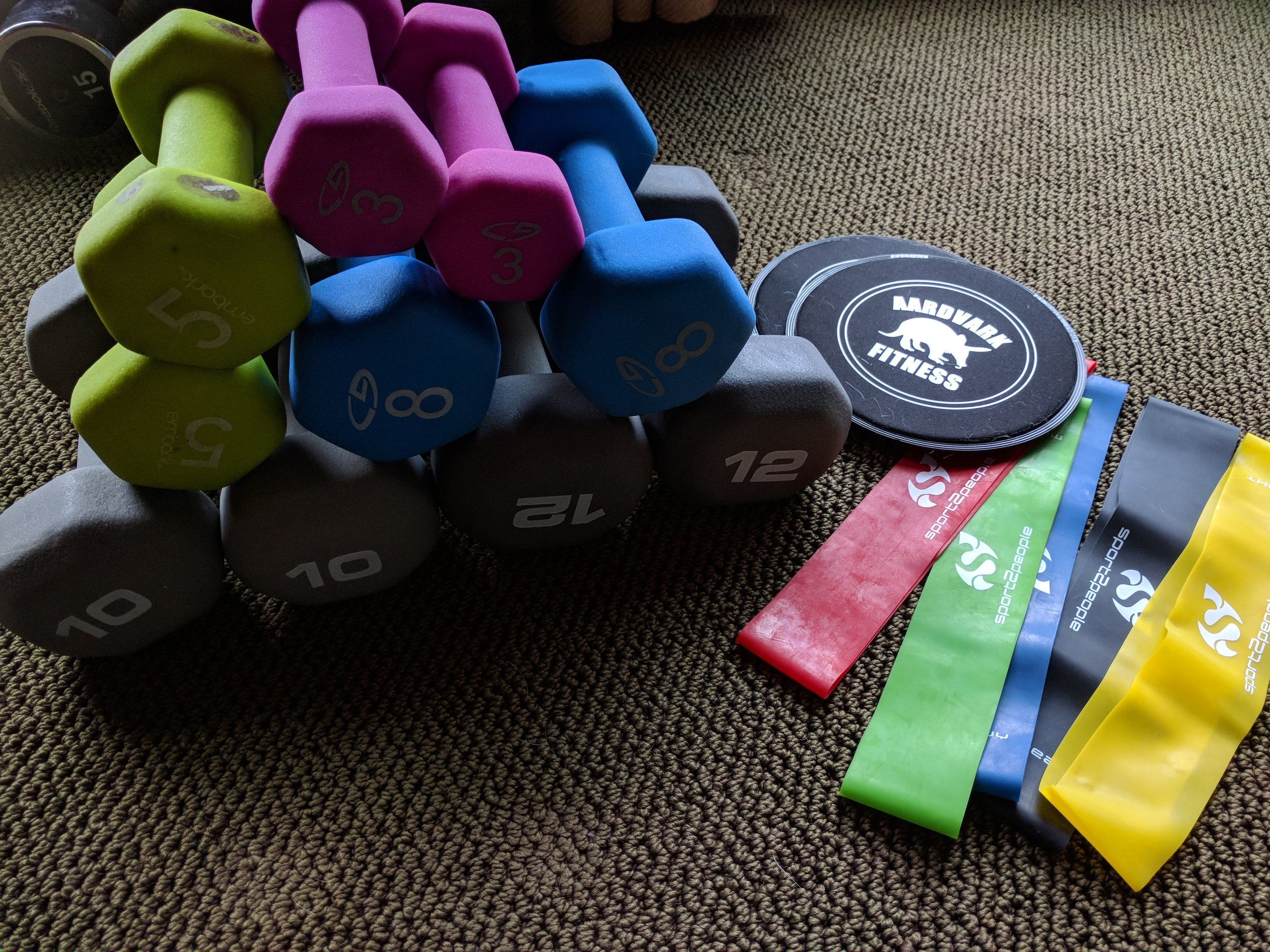 My weights are a hodgepodge from Dick's Sporting Goods, Target, and Walmart.  Sliders  and  loops  are from Amazon.
