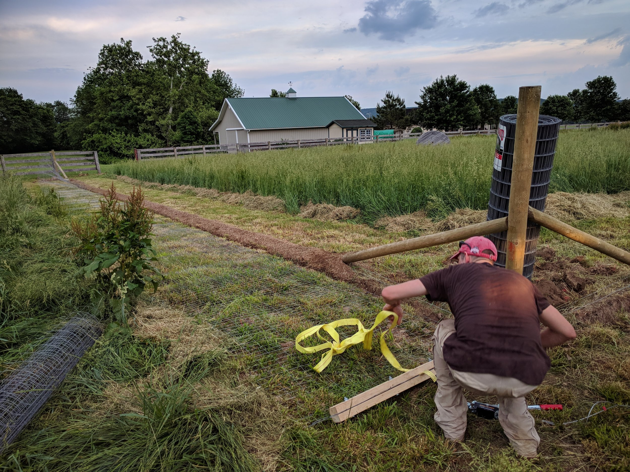 Jared fashioned a fence stretcher!