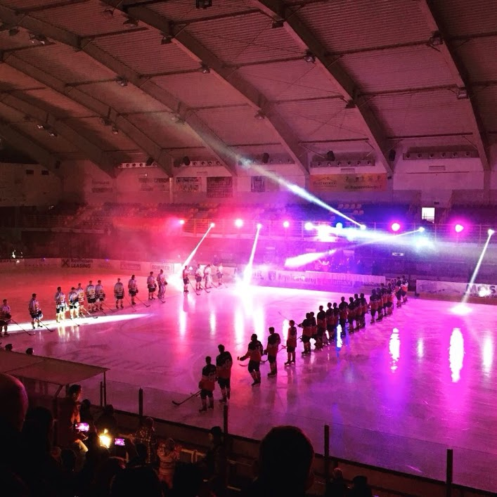 Pre-game light show before game 1 vs. Akademy KTH 1928 (Kryncia, Poland)