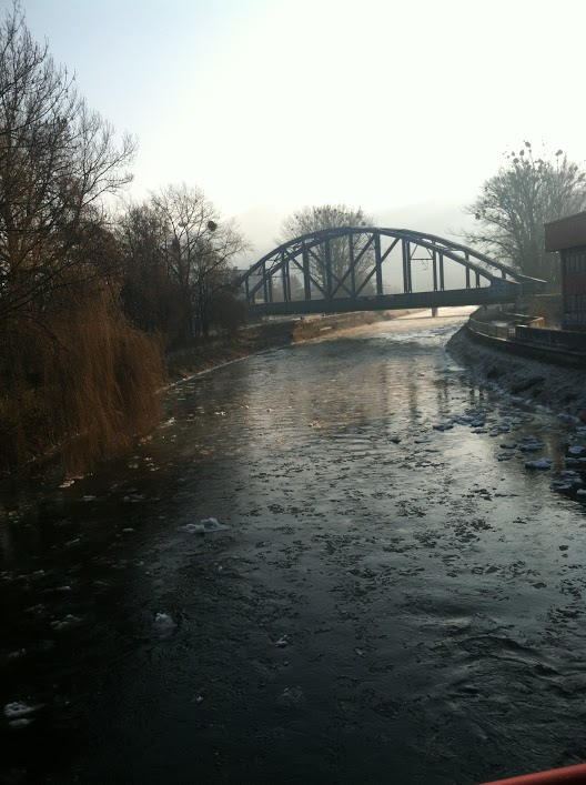 The team had to cross a little river on a foot bridge to get to the area in Banská Bystrica for game 2.
