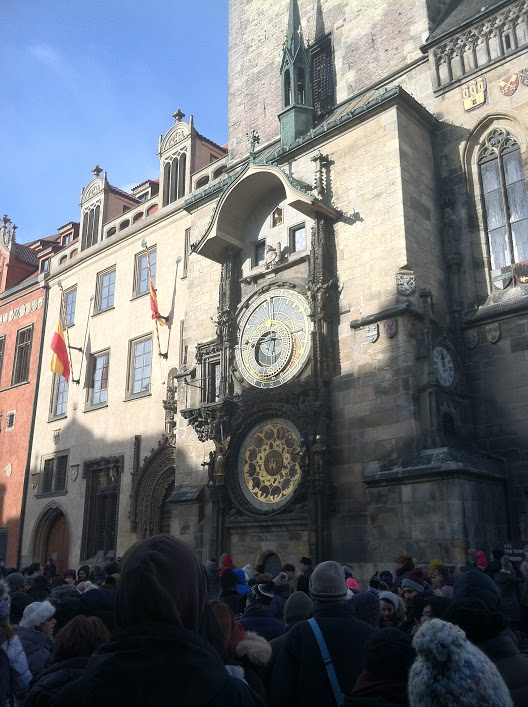 Shot of the Prague orloj (astronomical clock). It was first installed in 1410, making it the third-oldest astronomical clock in the world and the oldest one still operating.