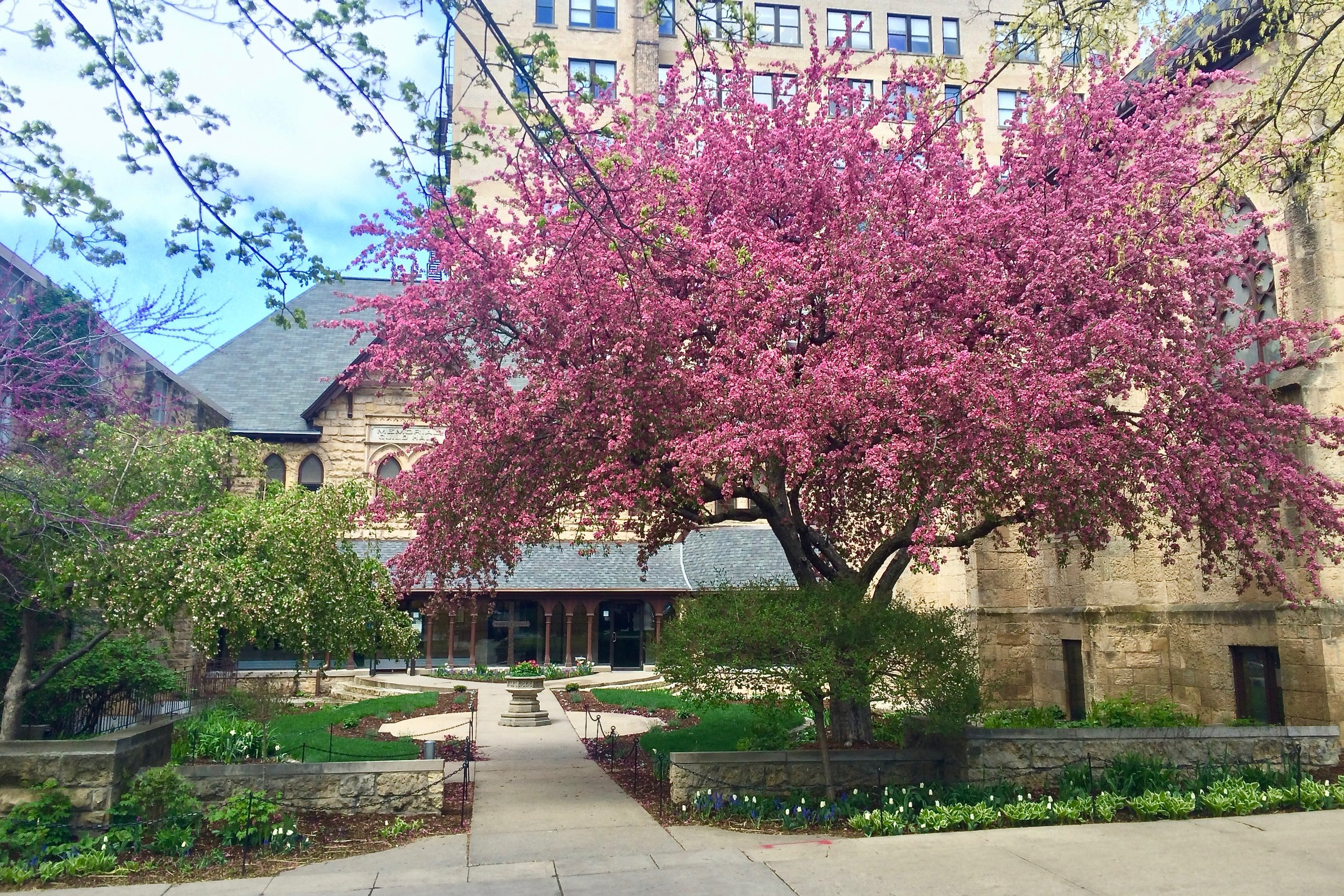 Grace Church courtyard on West Washington Ave.