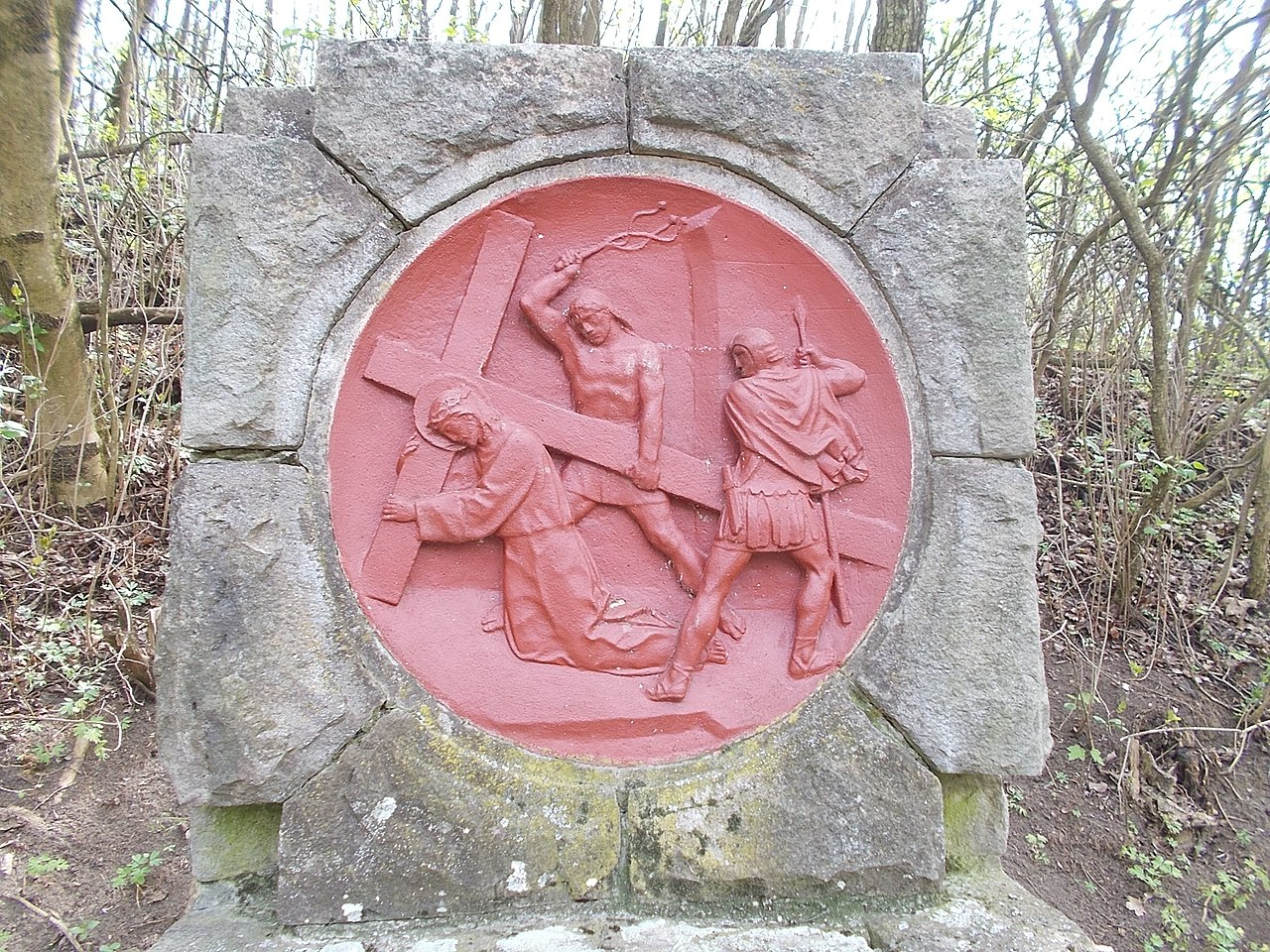 Jesus falls the first time, Stations of the Cross by Ernő Szakál sculptor-restorer