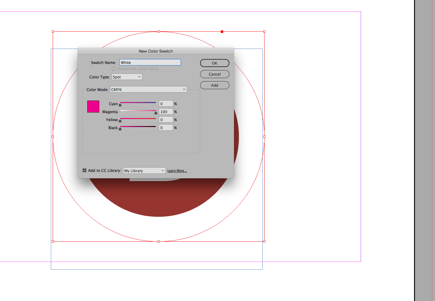 Creating a White swatch in the swatches panel.