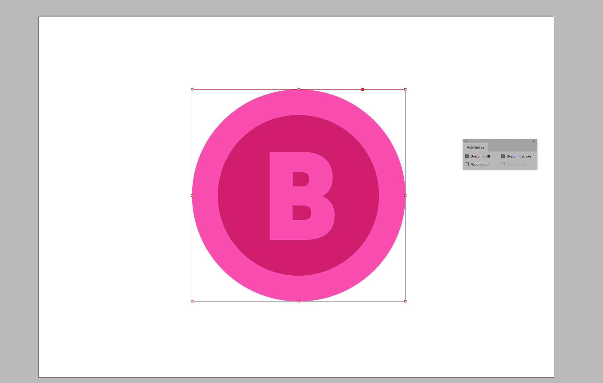 Attributes menu with Overprint Fill and Overprint Stroke checked off for our White circle.