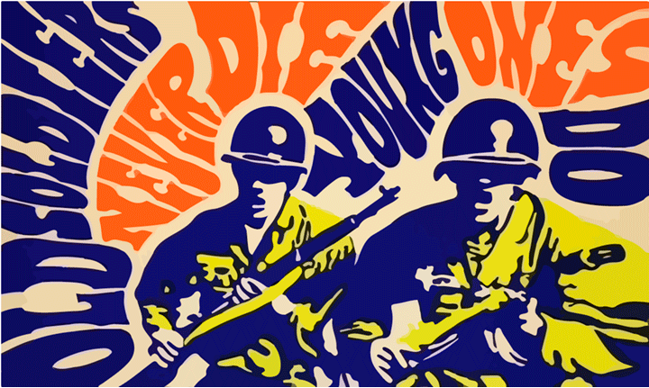 Old Soldiers Never Die; Young Ones Do  poster, unknown artist, United States, 1965-1970  Opposition to US involvement in Vietnam began with mass demonstrations in 1964 that grew into a broad social movement. Opposition came from students, artists, women's liberation, Chicano and African American civil rights groups, and sectors of organized labor. Educators, clergy members, journalists, and military veterans also joined the movement. The demonstrations were primarily peaceful and nonviolent, though protests were often met with police violence. The social movement eventually resulted in a termination of the draft, a lowering of the voting age from 21 to 18, and a withdrawal of US troops in Vietnam after an almost 20 year military entanglement.