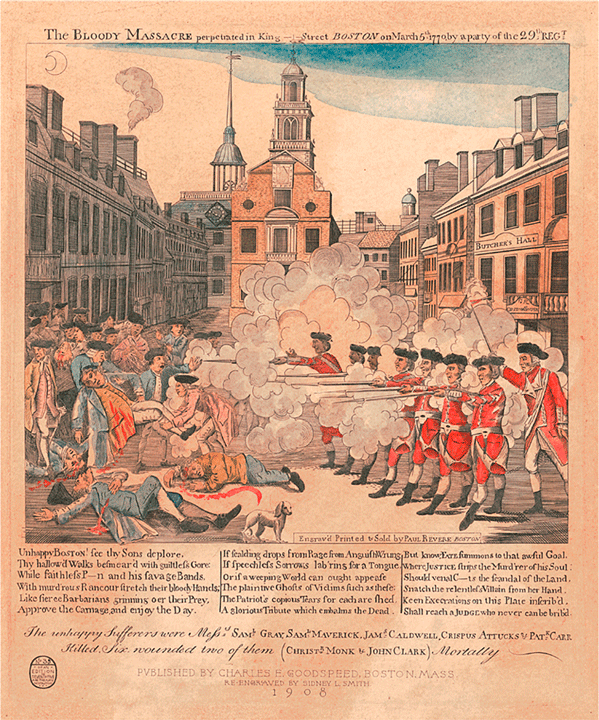 The Bloody Massacre in King Street  cartoon, Paul Revere and Henry Pelham, United States, 1770  In 1770, in an effort to enforce unpopular legislation and protect colonial officials, the British Crown sent approximately 4,000 soldiers to occupy Boston, a town of 15,000. The occupation caused a great amount of tension, eventually culminating in a confrontation between the soldiers and a mob of civilians on March 5, 1770. Bostonians hurled rocks and snowballs and beat the soldiers with clubs; soldiers responded by firing into the crowd, killing five civilians.  The event was heavily publicized by revolutionaries in an effort to encourage rebellion against the British. It was one of the first escalations in protests and violence in the lead up to the American Revolutionary War in 1775.
