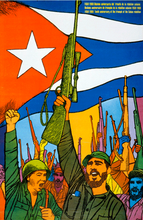 Anniversary of the Rebellion  poster, Felix René Mederos Pazos, Cuba, 1969  The Cuban Revolution was an uprising conducted by the 26th of July Movement and allies against the authoritarian government of U.S.-backed president Fulgencio Batista. Batista was a widely unpopular politician who, with financial, military, and logistical support from the United States, staged a coup, and then proceeded to suspend the Cuban Constitution and revoke political liberties from civilians, including the right to strike. He censored the media and utilized secret police to torture and execute communists, killing an estimated 20,000 people.  From 1953 through 1958 the rebels, assisted by Che Guevara and unified under Fidel Castro, fought to overthrow Batista until they succeeded in December 1958.