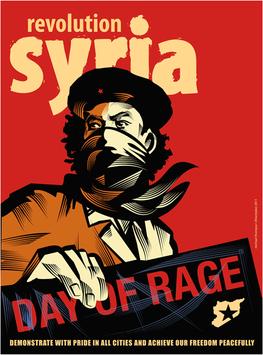 Syria Day of Rage  poster, Michael Thompson, Syria, 2011  The Arab Spring affected much of the Arab world, including Syria. In March 2011 the government of Bashar al-Assad faced an extreme challenge to its authority when pro-democracy protests spread throughout the country. Protesters demanded an end to the authoritarian regime and the long history of human rights violations, corruption, and extreme poverty.  The Syrian government responded to the demonstrations with police, military, and paramilitary violence against civilians. Organized opposition began to form in 2011 and the conflict has expanded into a civil war affecting the entire country, lasting into the present day.