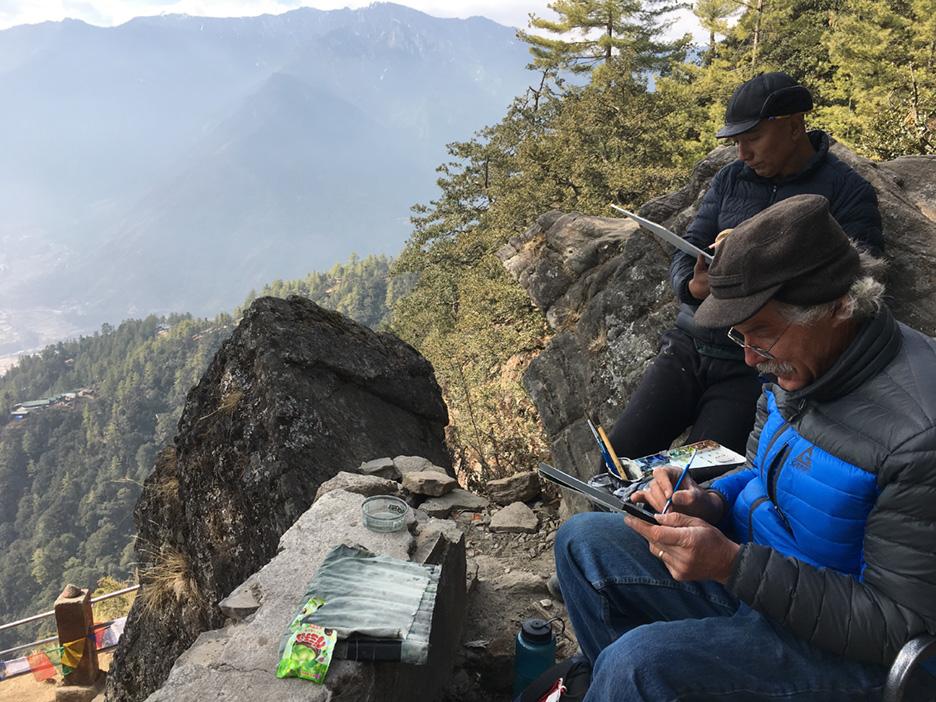 Paul Rickard and Ashsa Karma paint at Tiger's Nest