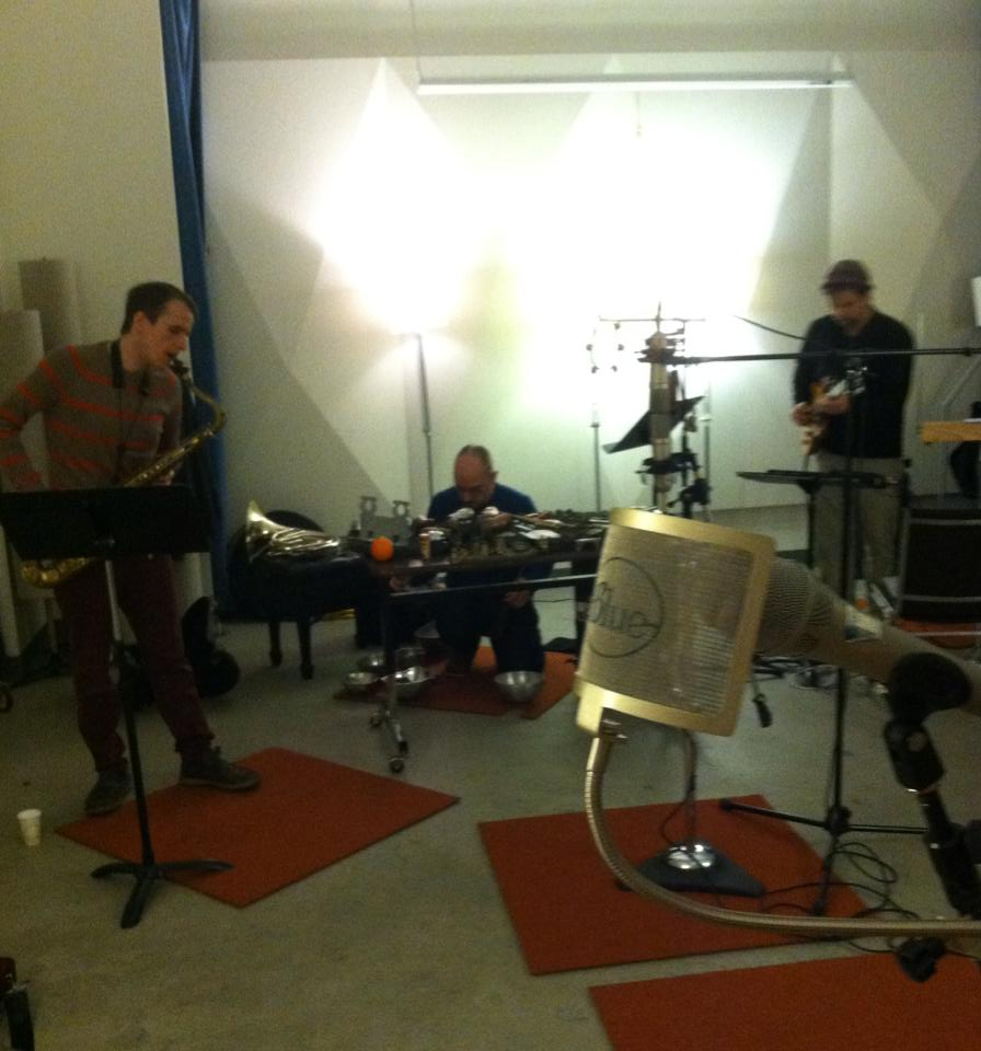 A photo from last night's recording session for Sonarchy radio. Greg Campbell, Tom Baker and I responded to an electronic composition by composers John Teske and Nat Evans called  Space Weather Listening Booth.  The work was inspired by the Aurora Borealis.