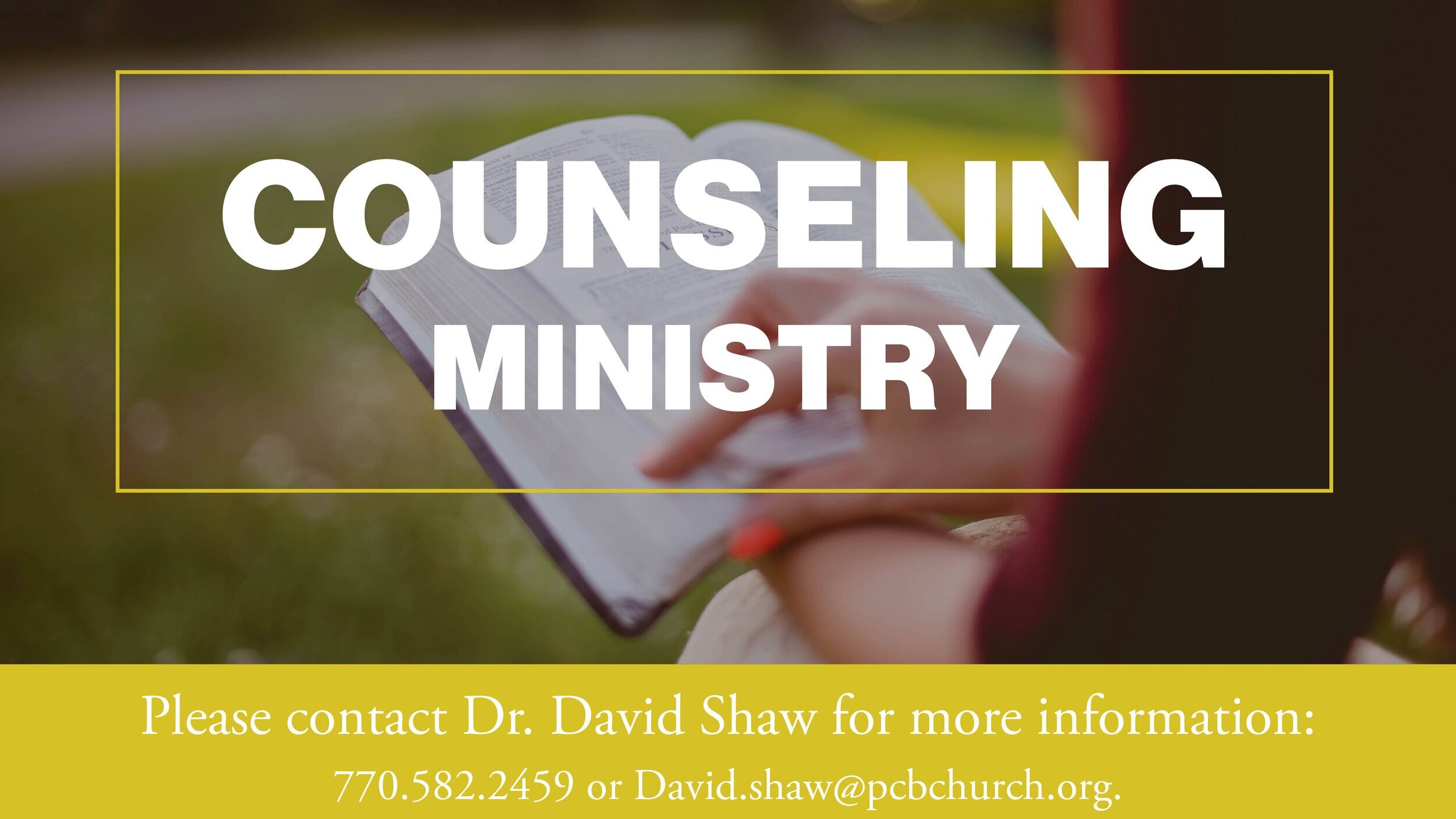 Counseling Ministry - Christian counseling starts with the understanding that the Bible is more than a book of facts; it is truth intended to make a difference in the way we live.LEARN MORE