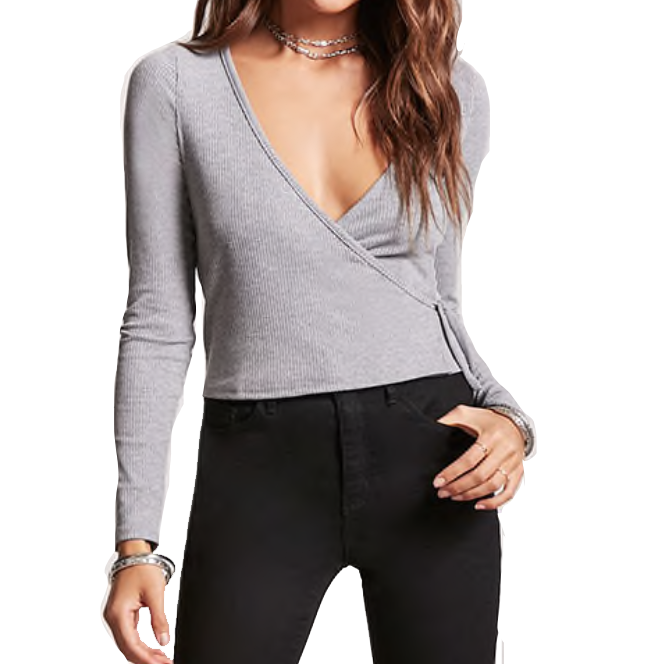 RIBBED KNIT WRAP TOP - $12.90