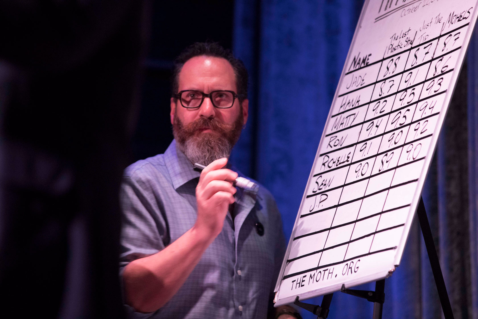 The Moth's LA StorySLAM producer, Gary Buchler, keeps a watchful eye on the evening's scoreboard with an Expo marker at the ready. (Photo credit: Ricky Steel & The Moth)