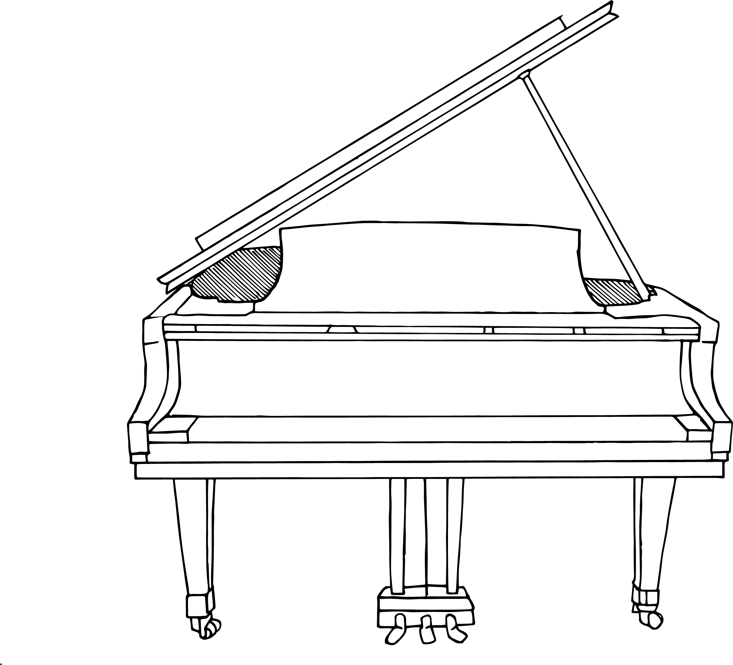 A keyless piano, whose keys were to be animated on a separate layer.