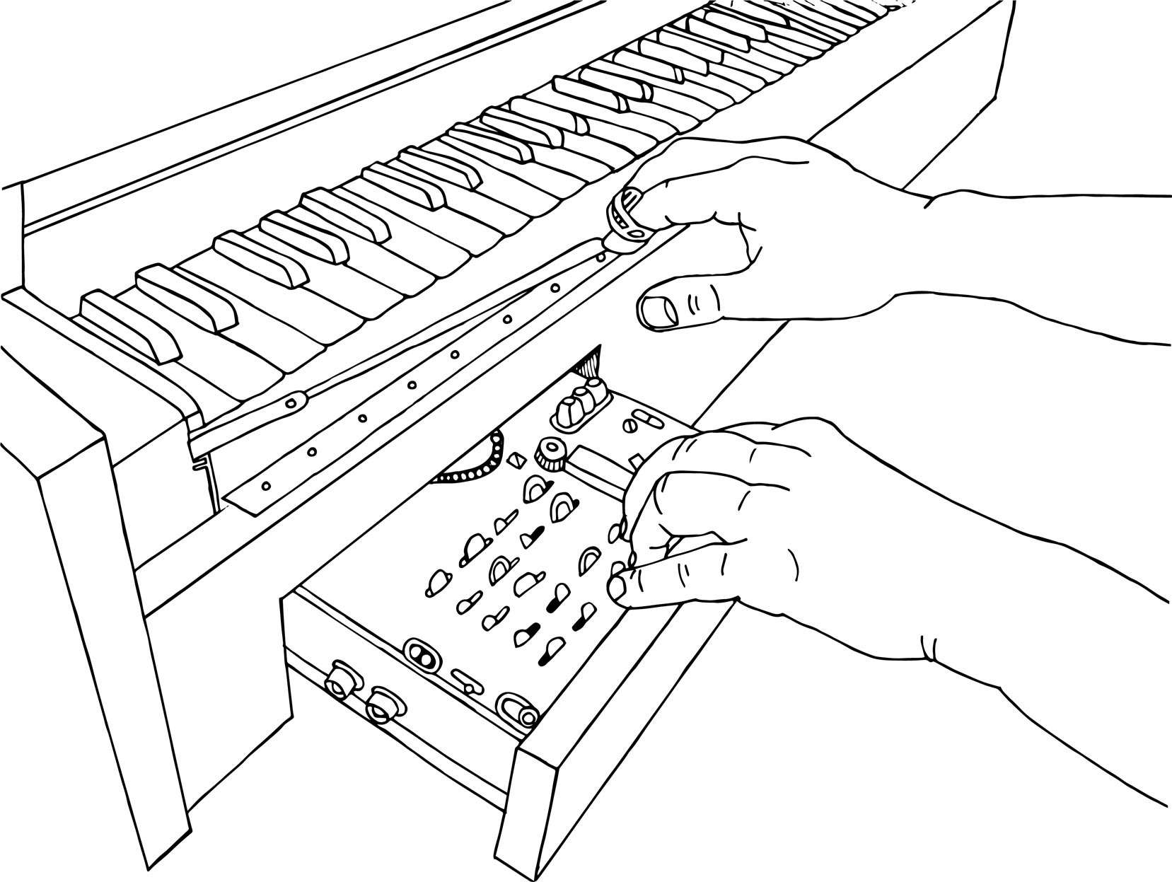 A pair of hands play the ondes martenot, an early electronic instrument. It has an eerie, yet sincere phrasing, similar to that of a theremin.