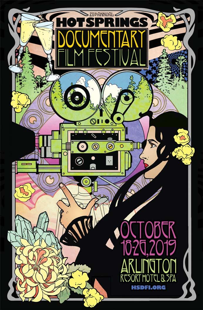 """2019 Hot Springs Documentary Film Festival"" Poster art and design by Sonny Kay"