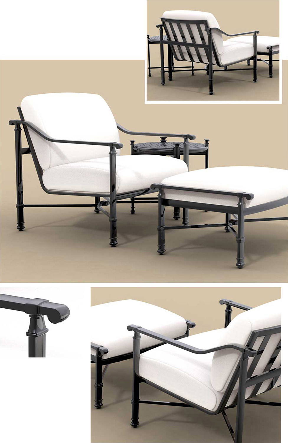 John Caldwell Design Fremont Lounge Chair with Ottoman
