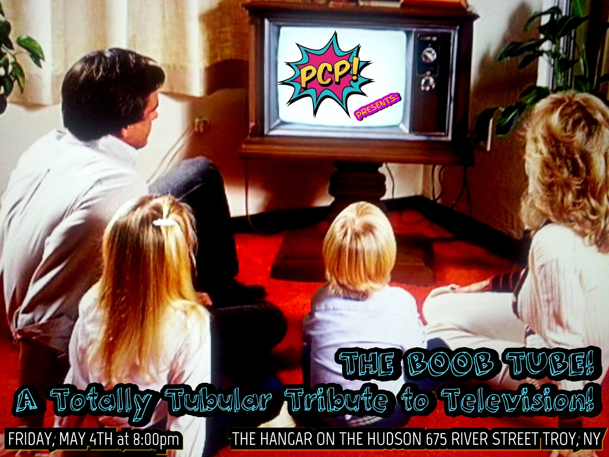 - Get off the couch, and get over to THE BOOB TUBE by the ladies of Pop Culture Provocateurs!Win prizes from That Store in the raffle!  Pop Culture Provocateurs Presents... THE BOOB TUBE! A totally tubular tribute to television! Action! Comedy! Drama! And so much more! Don't change that channel! Join some of your television favorites in a night of all new burlesque! Starring:DOLL BODY (New York City)GEORGIA O'PEACHMAXINE DE LA OBSCENEMUSTANG MAYHEM (Philadelphia)MINNIE DERRIERE NOELLE REIGNPERSEPHONE POMMETEASY ROOSEVELT GoGo & Kitten: TITANIA NOXHosted By: PENNY SCANDAL (Rochester)Tickets: $15 PRE-SALE boobtube.brownpapertickets.com $25 AT THE DOORFRIDAY, MAY 4THDOORS: 8:00PM // SHOW: 9:00PM THE HANGAR ON THE HUDSON675 RIVER STREETWE ARE POP CULTURE PROVOCATEURS......an all-femme burlesque production company based in Albany, NY! Composed of powerhouse performers Noelle Reign, Persephone Pomme and Teasy Roosevelt, we aim to honor the rebellious spirit of burlesque around the Capital Region.