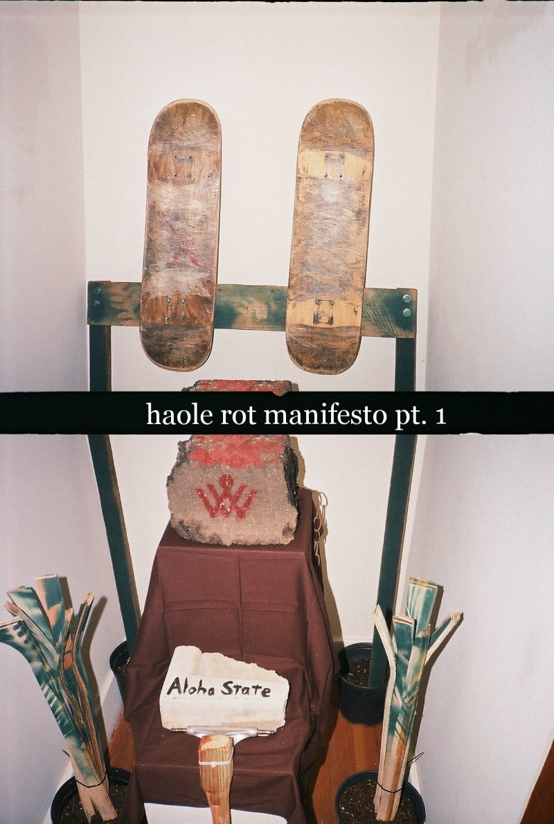 "haole rot manifesto pt. 1 -  Honolulu Museum of Art School Nanogallery, July 2016 Homemade skateboard decks and trimmings (Great Lakes region maple, manufactured at Sunset Beach, O'ahu), wood scraps (Dad's woodpile), Independent skate truck (Brother's board), stolen concrete and asphalt (Kaka'ako and State property), potting soil, planter pots, spray paint, bolts. (Photo: Alec Singer)  ""The question of what kind of city we want cannot be divorced from the question of what kind of people we want to be, what kinds of social relations we seek, what relations to nature we cherish, what style of life we desire, what aesthetic values we hold. The right to the city is, therefore, far more than a right of individual or group access to the resources that the city embodies: it is a right to change and reinvent the city more after our hearts' desire. It is, moreover, a collective rather than an individual right, since reinventing the city inevitably depends upon the exercise of a collective power over the processes of urbanization. The freedom to make and remake ourselves and our cities is, I want to argue, one of the most precious yet most neglected of our human rights. How best then to exercise that right?""   -David Harvey,  Rebel Cities"