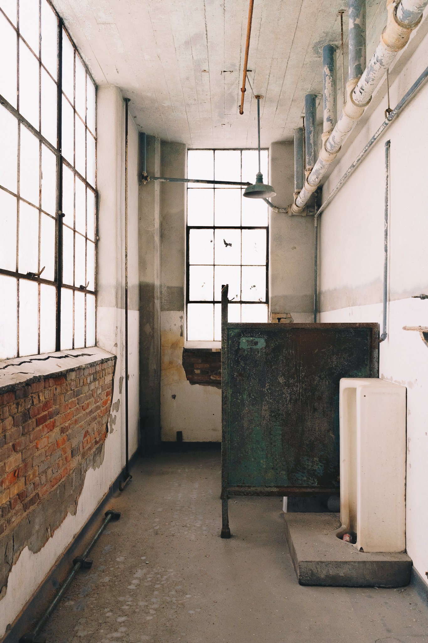 Studebaker Building 84 No. 1   A February 2018 photograph of a restroom in Studebaker Building 84, the main assembly plant of the former automaker's sprawling South Bend Plant 1.