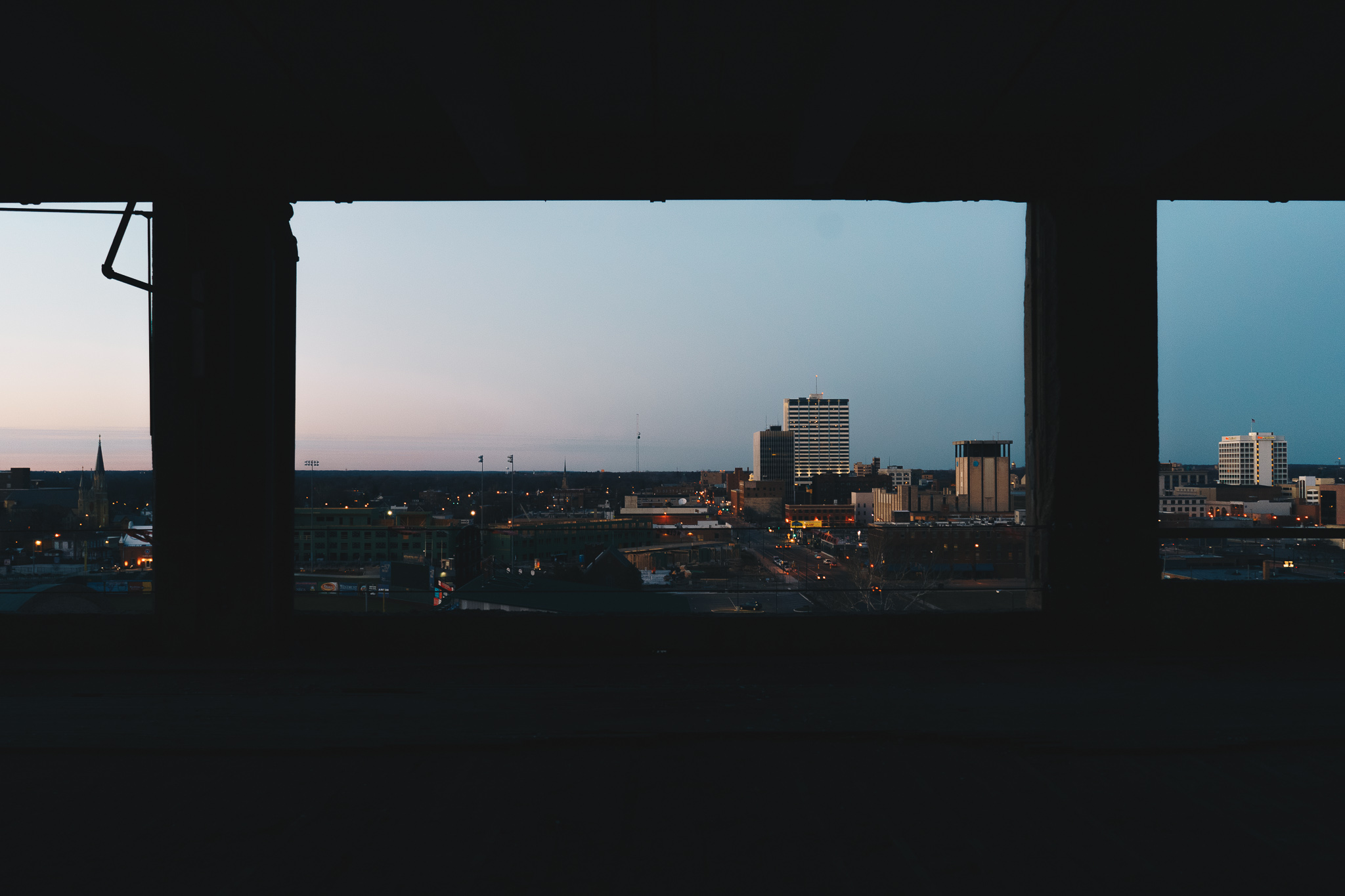 Studebaker Building 84 No. 4   A February 2018 photograph showing downtown South Bend from an upper floor of Studebaker Building 84, the main assembly plant of the former automaker's sprawling South Bend Plant 1.