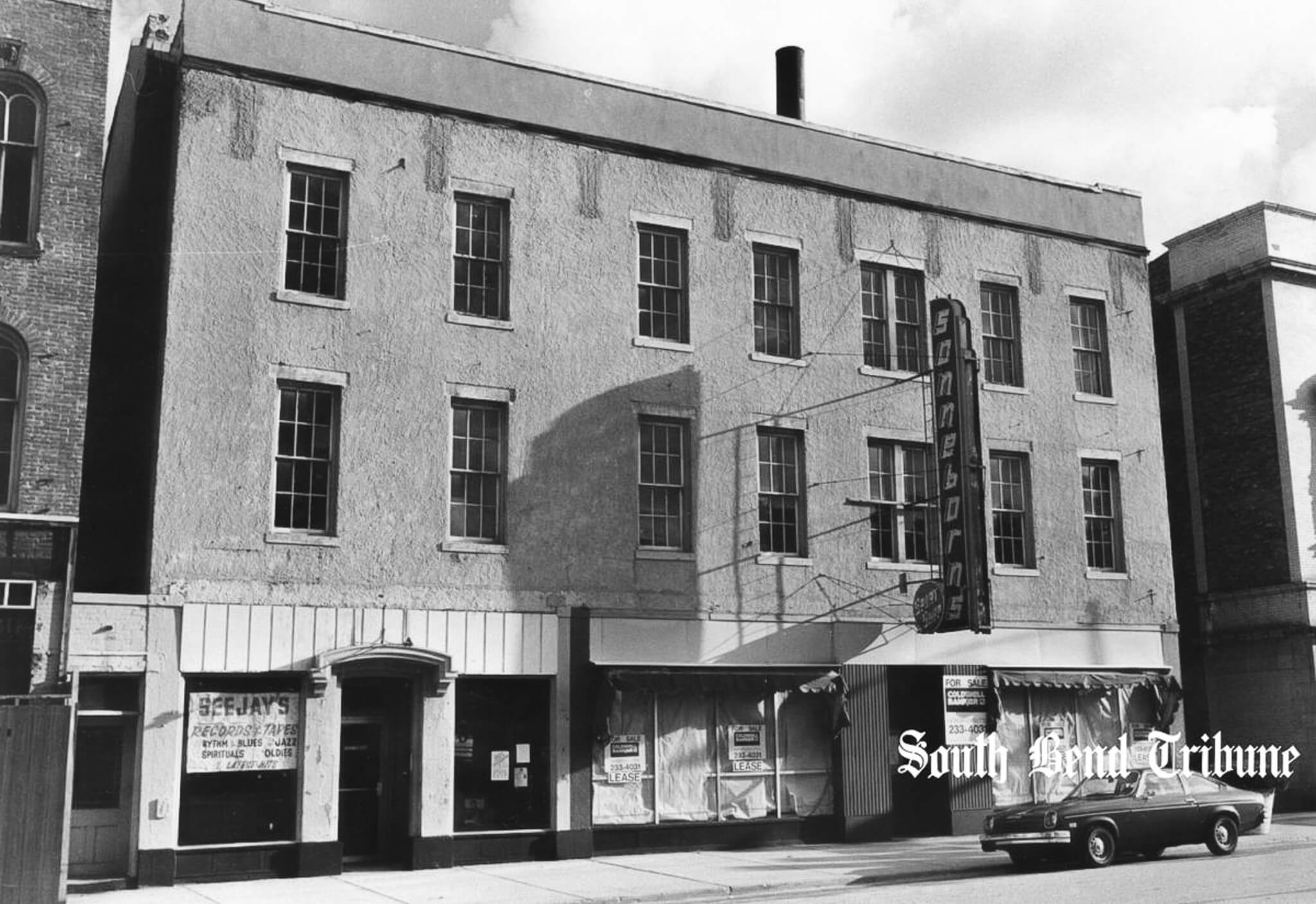 A South Bend Tribune archive photograph showing the building for sale after Sonneborn's closure.