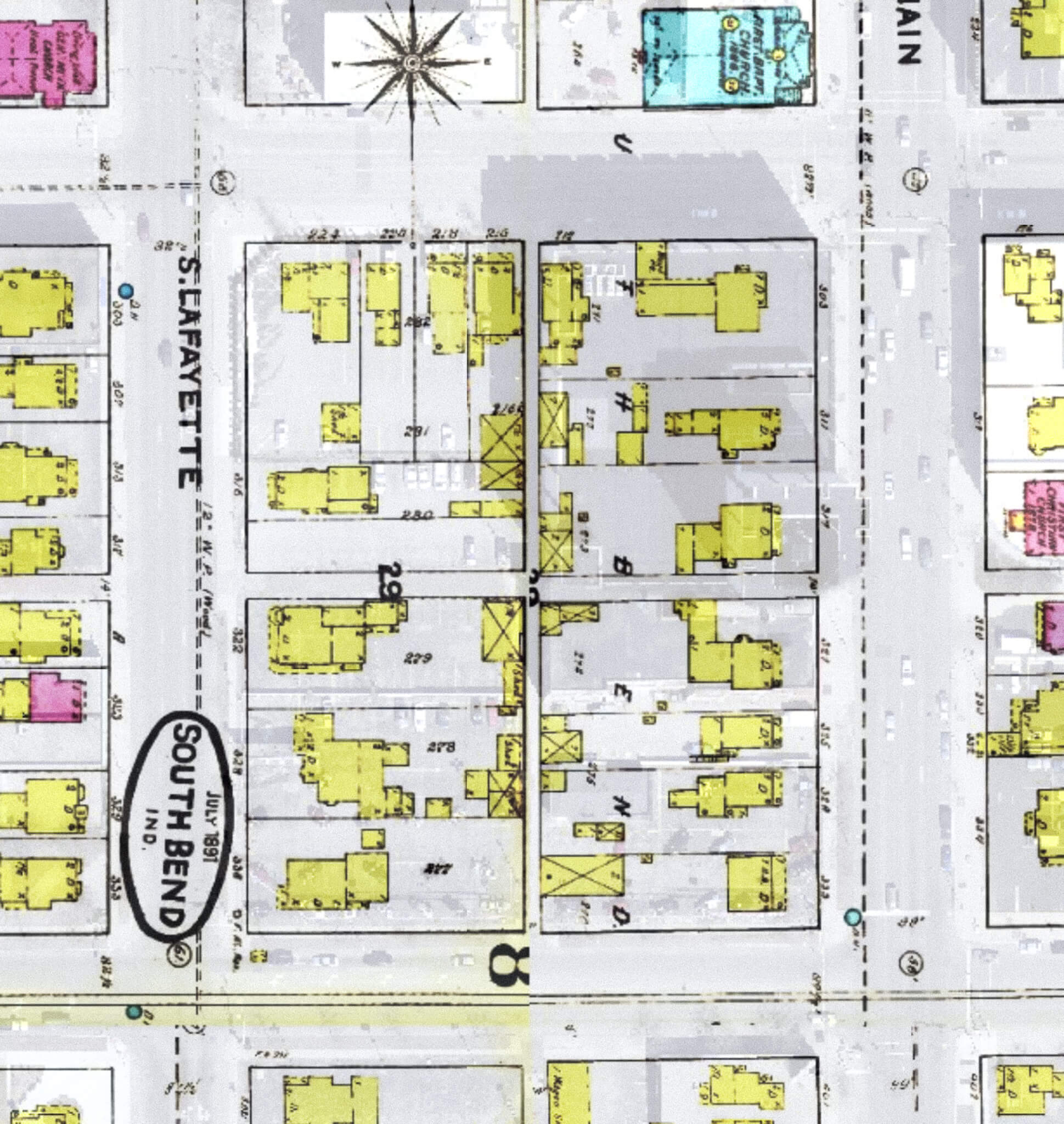 1891 map of the block, with the building shown near the bottom right corner.